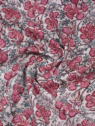 White-Pink Block Printed Cotton Fabric