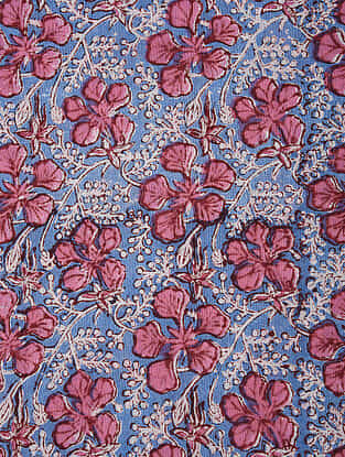 Blue-Red Block Printed Cotton Fabric