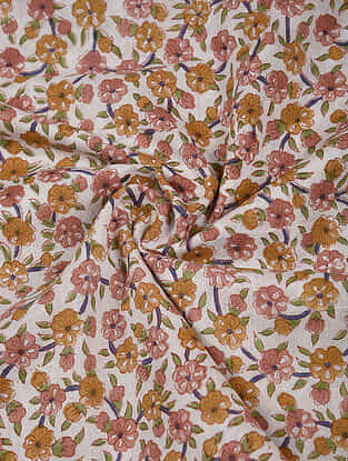 Ivory-Orange Block Printed Cotton Fabric