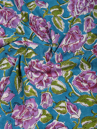 Blue-Purple Block Printed Cotton Fabric