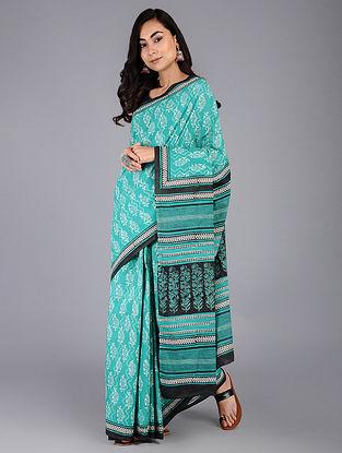 Blue-Black Dabu Printed Mul Cotton Saree