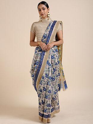 Blue-Yellow Block-printed Chanderi Saree