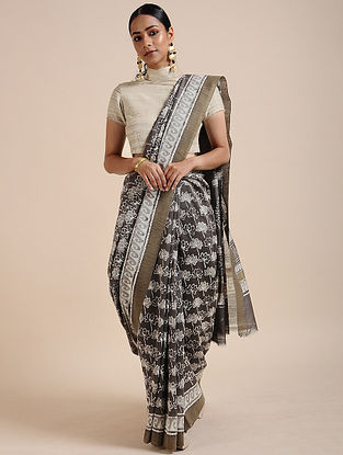 Grey-Ivory Block-printed Chanderi Saree