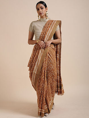 Brown-Ivory Block-printed Chanderi Saree