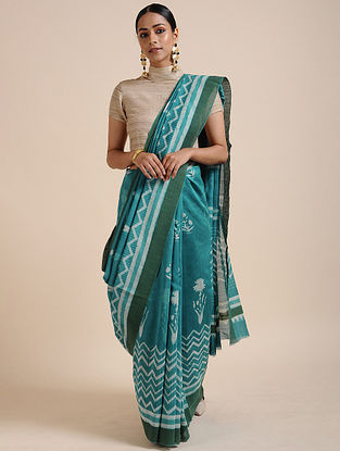 Blue-Ivory Block-printed Chanderi Saree