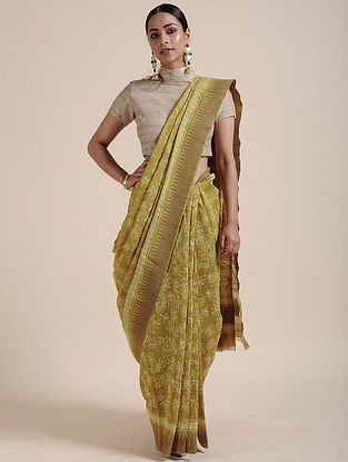 Green-Ivory Block-printed Chanderi Saree