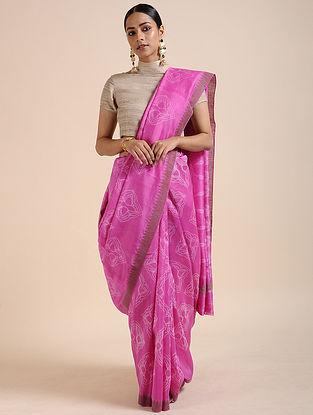Pink-Ivory Shibori-dyed Chanderi Saree