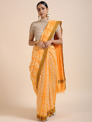 Orange-Ivory Shibori-dyed Chanderi Saree