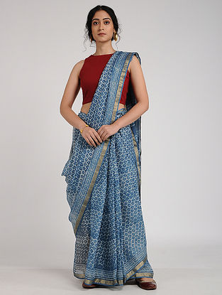 Blue-Ivory Block-Printed Kota Silk Dupatta with Zari Border