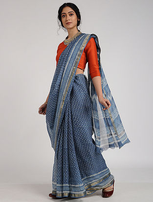 Blue-Ivory Block-Printed Kota Silk Saree with Zari Border