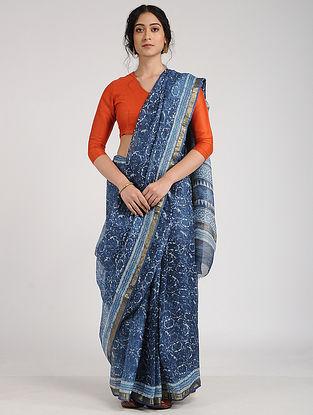 Blue-Ivory Block-Printed Kota Silk Saree with Zari Border