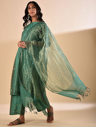 Dark Green Silk Cotton Dupatta with Zari