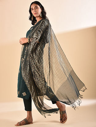 Green Silk Cotton Dupatta with Zari