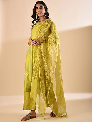 Mustard Silk Cotton Dupatta with Zari