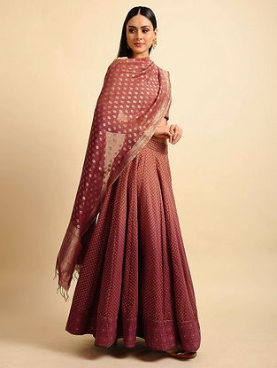 Red Ombre Silk Cotton Cutwork Dupatta with Zari