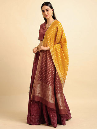 Yellow Ombre Silk Cotton Cutwork Dupatta with Zari