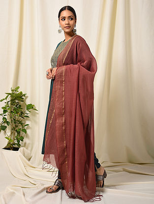 Maroon Silk Cotton Dupatta