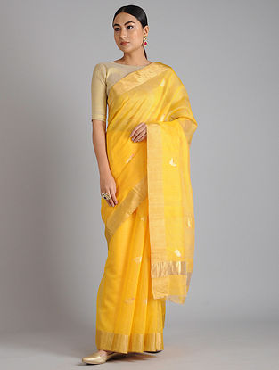 Yellow Chanderi Handwoven Saree with Zari