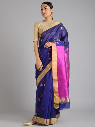 Blue-Purple Chanderi Handwoven Saree with Zari