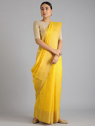 Yellow Maheshwari Handwoven Saree with Zari