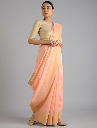 Peach Maheshwari Handwoven Saree with Zari