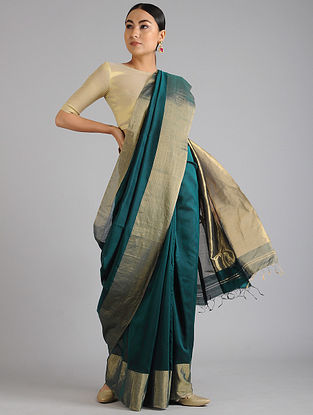 Teal Green Maheshwari Handwoven Saree with Zari
