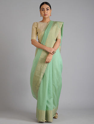 Green Maheshwari Handwoven Saree with Zari