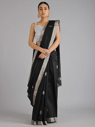 Black Chanderi Handwoven Saree with Zari