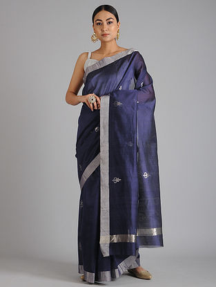 Blue Chanderi Handwoven Saree with Zari