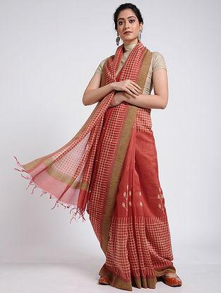 Pink-Ivory Block-printed Chanderi Saree with Ghicha Border