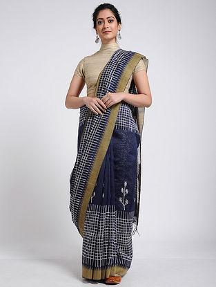 Blue-Ivory Block-printed Chanderi Saree with Ghicha Border