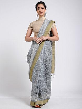Grey-Ivory Block-printed Chanderi Saree with Ghicha Border