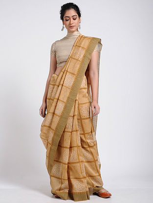Beige-Ivory Block-printed Chanderi Saree with Ghicha Border