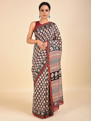 Red-Black Dabu Printed Chanderi Saree