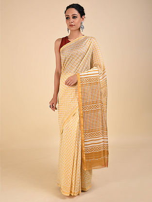 Yellow-Ivory Dabu Printed Chanderi Saree