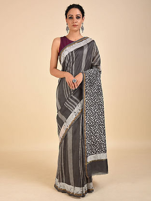 Grey-Ivory Dabu Printed Chanderi Saree