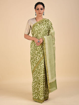 Green-Ivory Dabu Printed Chanderi Saree