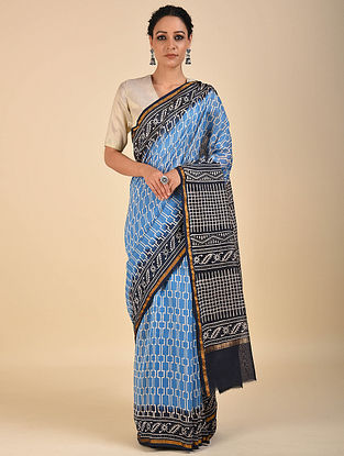 Blue-Black Dabu Printed Chanderi Saree