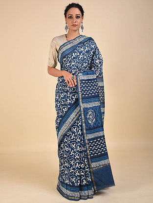Blue-Ivory Dabu Printed Chanderi Saree