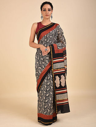 Ivory-Red Dabu Printed Chanderi Saree