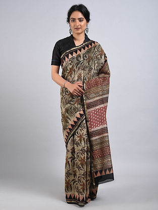 Multicolor Handwoven Dabu Printed Chanderi Saree