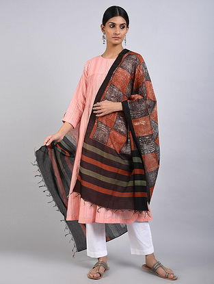 Red-Black Handwoven Dabu Printed Chanderi Dupatta