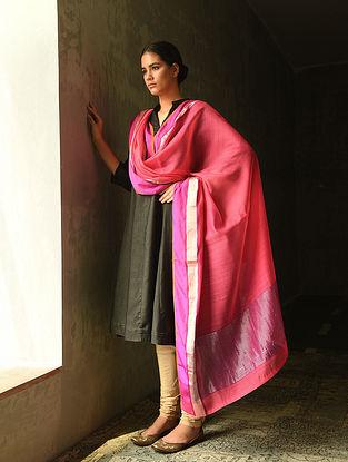 Pink Cotton Silk Dupatta with Zari