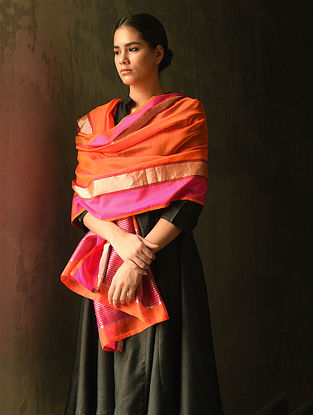 Orange Cotton Silk Dupatta with Zari