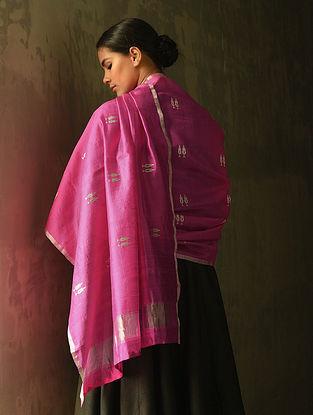 Pink Silk Dupatta with Zari