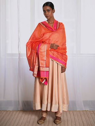 Orange-Pink Cotton Silk Dupatta with Zari