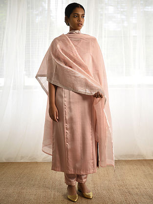 Pink Cotton Silk Dupatta with Zari