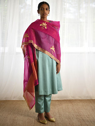 Pink-Orange Silk Dupatta with Zari