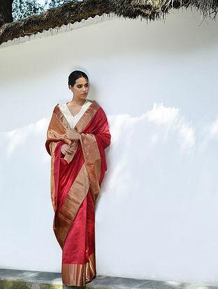Red Silk Saree with Zari