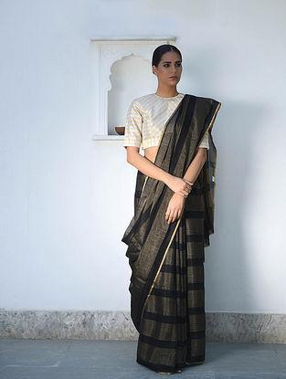 Black Tissue Silk Saree with Zari